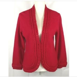 Coldwater Creek Wool Cardigan Red Medium